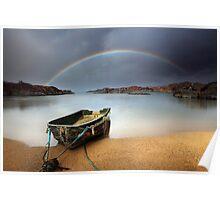 Boat and rainbow - Ardtoe, West Coast of Scotland Poster