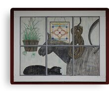 Painted Window Scene Canvas Print