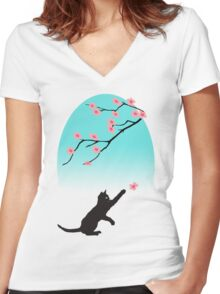 Spring Cat Women's Fitted V-Neck T-Shirt