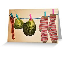 'Bacon, Cabbage and Stripey Socks' Greeting Card