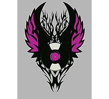 Vinyl Record Retro Punk Spikes Tribal with Wings - Purple Design Photographic Print