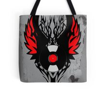PUNK ROCK DJ Vinyl Record Art with Tribal Spikes and Wings  Tote Bag