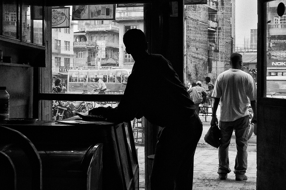 Cafe Scene, Banepa, Kavre District, Nepal by John Callaway