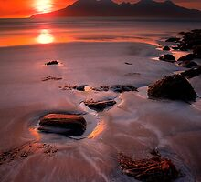 Sunset over the Isle of Rhum, Western Scotland. by photosecosse /barbara jones
