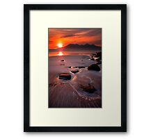 Sunset over the Isle of Rhum, Western Scotland. Framed Print
