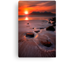 Sunset over the Isle of Rhum, Western Scotland. Canvas Print