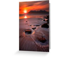 Sunset over the Isle of Rhum, Western Scotland. Greeting Card