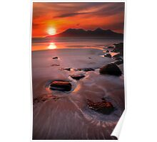 Sunset over the Isle of Rhum, Western Scotland. Poster
