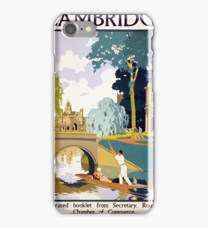 Cambridge Vintage Travel Poster Restored iPhone Case/Skin
