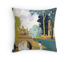 Cambridge Vintage Travel Poster Restored Throw Pillow
