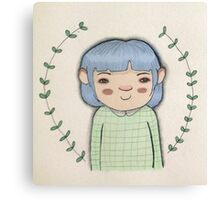 Blue hair cute girl leaves cartoon art Canvas Print