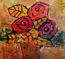 Mother's Day Roses, mixed media on canvas by Sandrine Pelissier