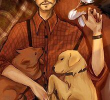 Will Graham and his puppies by nastjastark