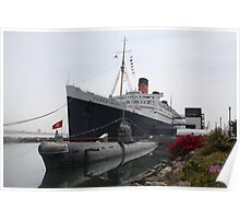 R.M.S Queen Mary and Russian Sub... Poster