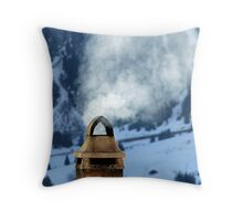 Chimney in the Alps, Switzerland Throw Pillow