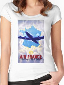 Air France Vintage Travel Poster Restored Women's Fitted Scoop T-Shirt