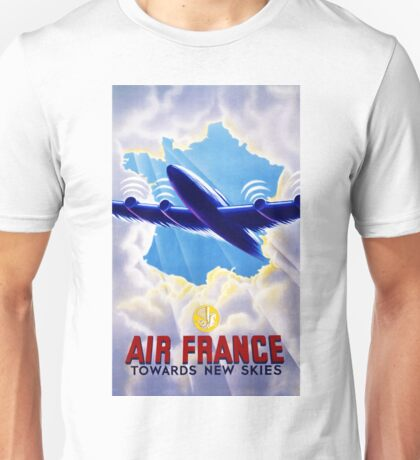 Air France Vintage Travel Poster Restored Unisex T-Shirt