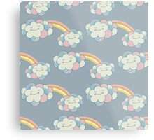 Vector seamless pattern with the clouds and rainbow Metal Print
