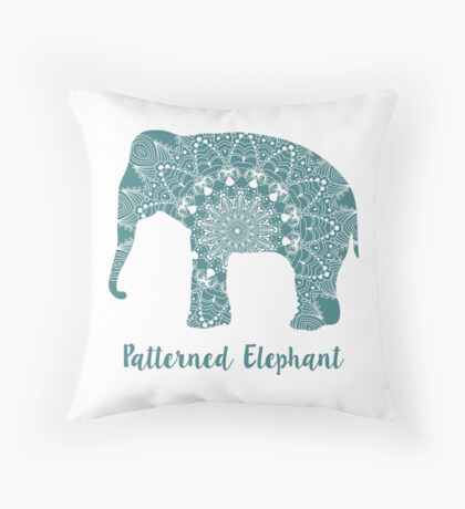 Mandala patterned vector elephant. Indian motives Throw Pillow
