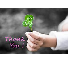 Four-Leaved Clover in a Child Hand - Thank You Photographic Print