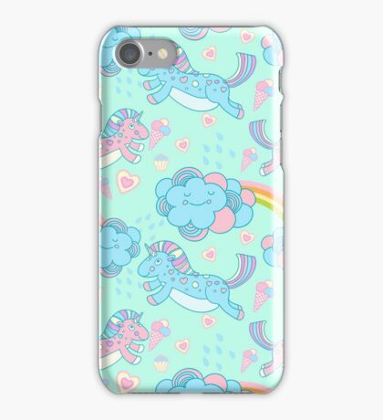 Vector seamless pattern with the unicorns, clouds and rainbow iPhone Case/Skin