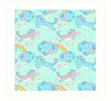 Vector seamless pattern with the unicorns, clouds and rainbow Art Print
