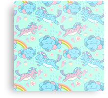 Vector seamless pattern with the unicorns, clouds and rainbow Metal Print