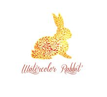 Patterned floral watercolor rabbit vector illustration by julkapulka