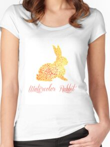 Patterned floral watercolor rabbit vector illustration Women's Fitted Scoop T-Shirt