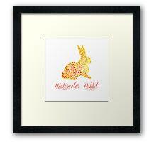 Patterned floral watercolor rabbit vector illustration Framed Print