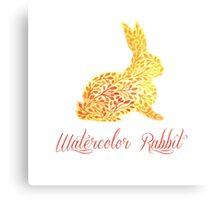 Patterned floral watercolor rabbit vector illustration Canvas Print