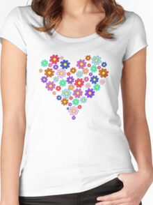 Heart flowers - white Women's Fitted Scoop T-Shirt