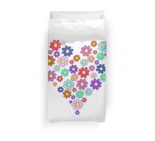 Heart flowers - white Duvet Cover