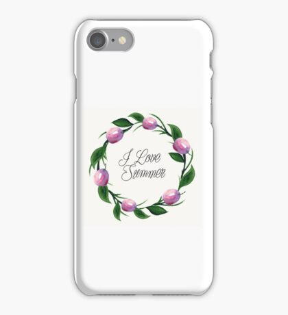 Fruit orange watercolor floral  invitation wreath background iPhone Case/Skin