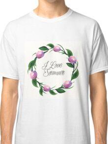 Fruit orange watercolor floral  invitation wreath background Classic T-Shirt