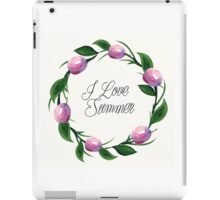 Fruit orange watercolor floral  invitation wreath background iPad Case/Skin