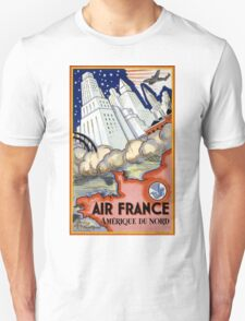Air France USA Vintage Travel Poster Restored Unisex T-Shirt
