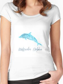Patterned floral watercolor dolphin vector illustration Women's Fitted Scoop T-Shirt