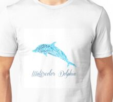 Patterned floral watercolor dolphin vector illustration Unisex T-Shirt