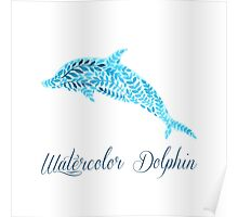 Patterned floral watercolor dolphin vector illustration Poster