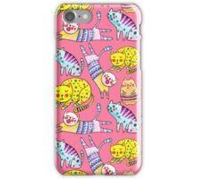 Watercolor vector seamless pattern with the other bright cats.  iPhone Case/Skin