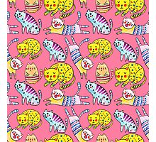 Watercolor vector seamless pattern with the other bright cats.  Photographic Print