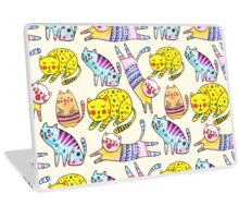 Watercolor vector seamless pattern with the other bright cats.  Laptop Skin