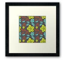Summer flowers seamless vector pattern Framed Print