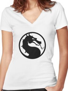 Mortal Kombat - Black Logo Women's Fitted V-Neck T-Shirt