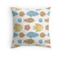 Fish vector seamless pattern Throw Pillow
