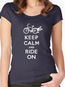 Keep Calm and Ride On - cruiser - white fonts 1 Women's Fitted Scoop T-Shirt