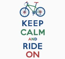 Keep Calm and Ride On - mountain bike - primary Kids Tee