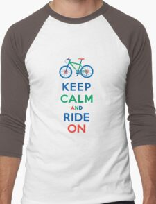 Keep Calm and Ride On - mountain bike - primary Men's Baseball ¾ T-Shirt