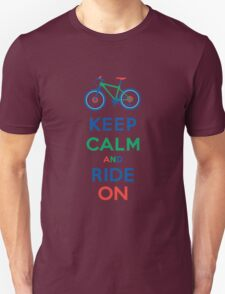 Keep Calm and Ride On - mountain bike - primary T-Shirt